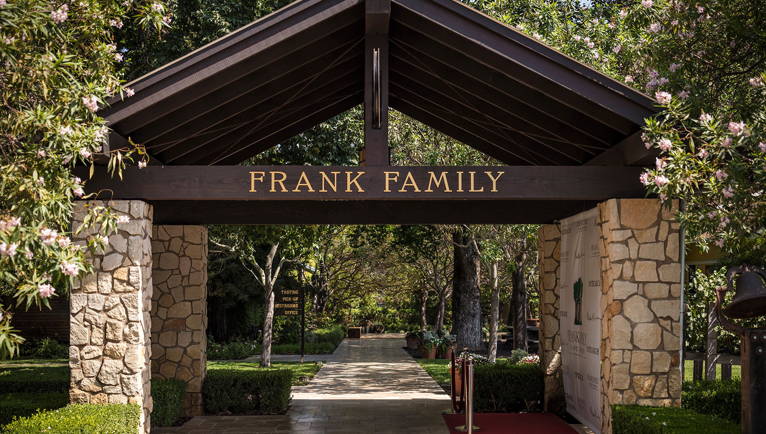 Entrance arch to Frank Family Vineyards