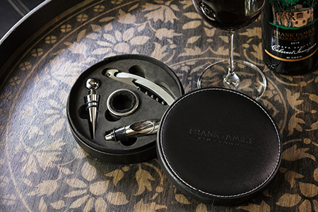 Black leather Wine Accessory Set